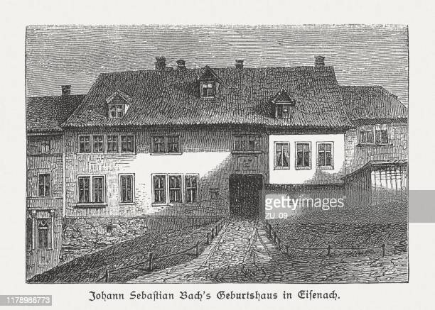 ドイツ、アイゼナッハのヨハン・セバスチャン・バッハの生家、1885年出版 - アイゼナッハ点のイラスト素材/クリップアート素材/マンガ素材/アイコン素材