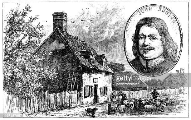 イギリス・エルストウのジョン・バニヤン発祥の地 19世紀 - 名作 発祥の地点のイラスト素材/クリップアート素材/マンガ素材/アイコン素材