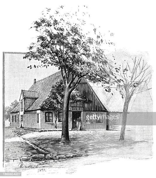 ハイデのドイツの詩人で作家のクラウス・ヨハン・グロースの生家 - 名作 発祥の地点のイラスト素材/クリップアート素材/マンガ素材/アイコン素材