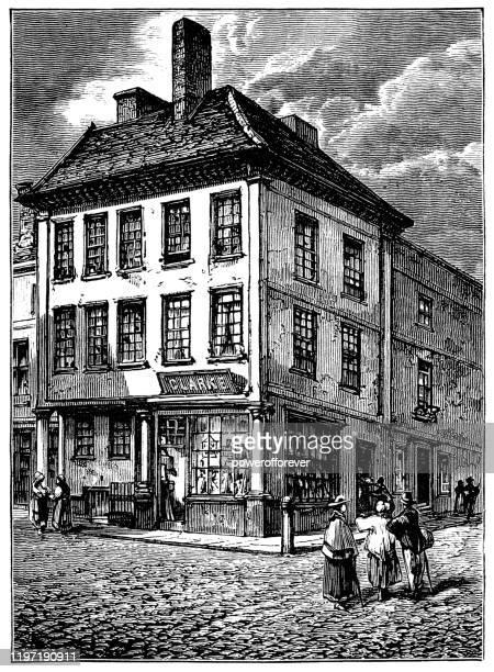 イギリス、リッチフィールドのサミュエル・ジョンソン発祥の地 19世紀 - 名作 発祥の地点のイラスト素材/クリップアート素材/マンガ素材/アイコン素材