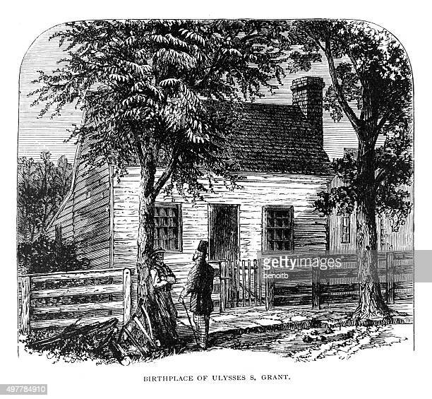 birthplace of ulysses grant - ulysses s grant stock illustrations