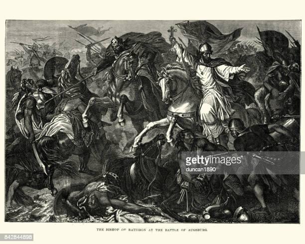 ilustrações, clipart, desenhos animados e ícones de bispo de ratisbona na batalha de lechfeld (955) - bishop clergy