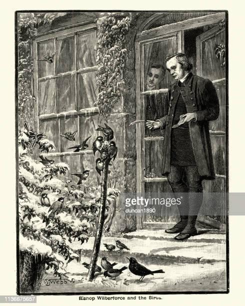 ilustrações, clipart, desenhos animados e ícones de bishop samuel wilberforce que alimenta os pássaros, victorian 19o século - bishop clergy