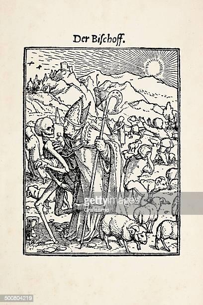 ilustrações, clipart, desenhos animados e ícones de bishop com esqueleto de dança de morte depois holbein - bishop clergy