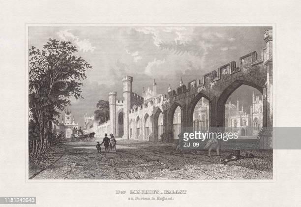 ilustrações, clipart, desenhos animados e ícones de bishop ' s palace (castelo de auckland) em durham, inglaterra, gravura em aço, 1860 - bishop clergy