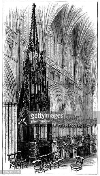 ilustrações, clipart, desenhos animados e ícones de trono do bispo na catedral igreja de são pedro em exeter, inglaterra - século xix - bishop clergy