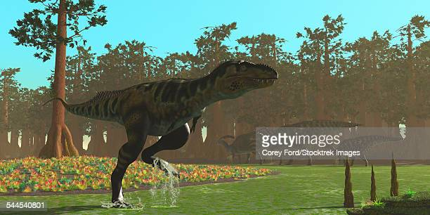 A Bistahieversor splashes through a swampy area.