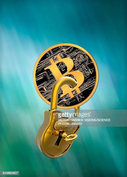 bitcoin and padlock, illustration - ビットコイン点のイラスト素材/クリップアート素材/マンガ素材/アイコン素材
