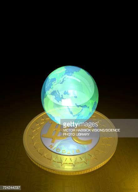 bitcoin and the globe, illustration - ビットコイン点のイラスト素材/クリップアート素材/マンガ素材/アイコン素材