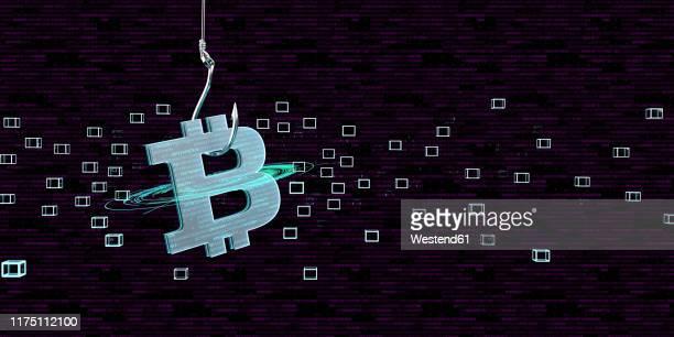 bitcoin as bait for a trap, 3d illustration - ビットコイン点のイラスト素材/クリップアート素材/マンガ素材/アイコン素材