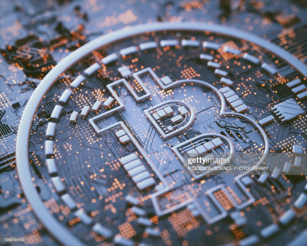 Bitcoin logo on circuit board, illustration : stock illustration