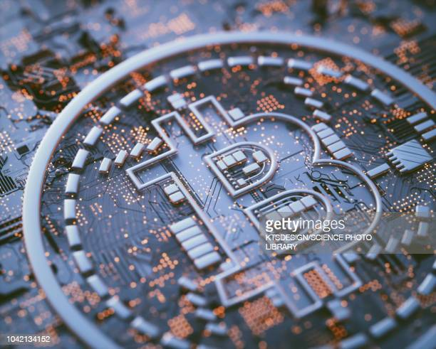 bitcoin logo on circuit board, illustration - cryptocurrency stock illustrations