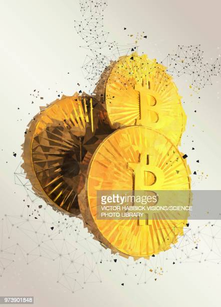 bitcoins, illustration - cryptocurrency stock illustrations