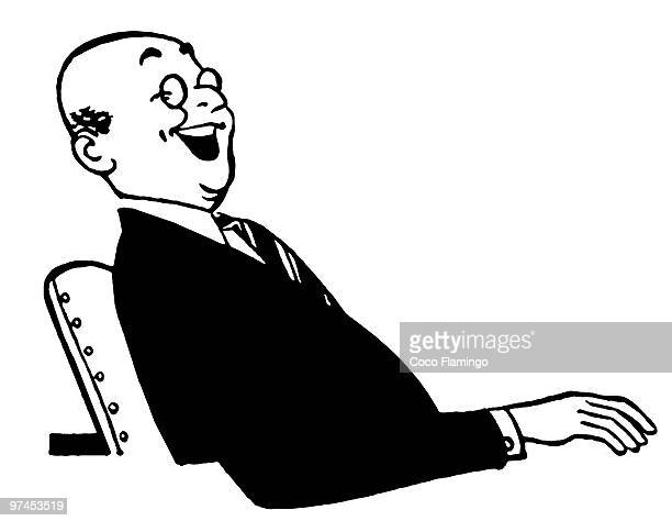 A black an white version of a jolly looking businessman sitting at a desk