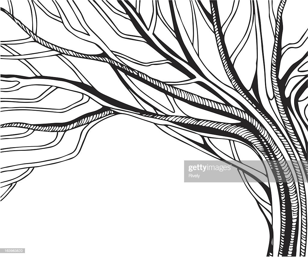 black and white abstract vector tree