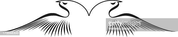 black and white bird - animal limb stock illustrations, clip art, cartoons, & icons