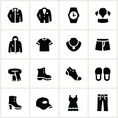 Black and white department store clothing icons
