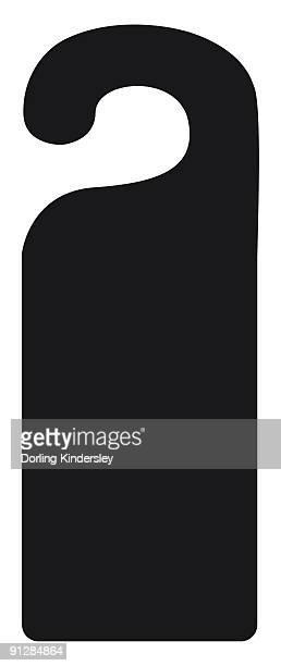 Black and white digital illustration of door hanger