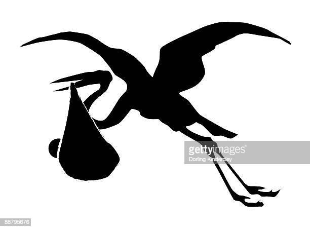 Black and white digital illustration of stork flying with baby bundle held in beak