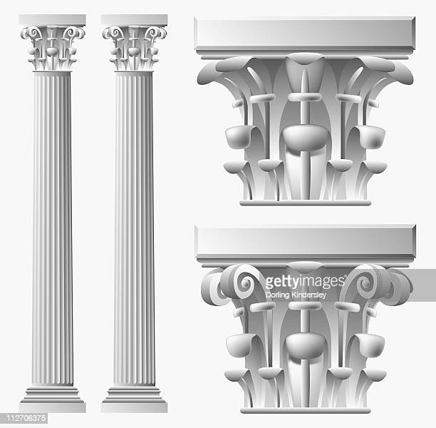 black and white digital illustration of two corinthian columns and capitals - corinthian stock illustrations, clip art, cartoons, & icons