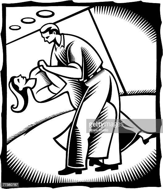 ilustraciones, imágenes clip art, dibujos animados e iconos de stock de a black and white drawing of a couple doing ballroom dancing - bailar un vals