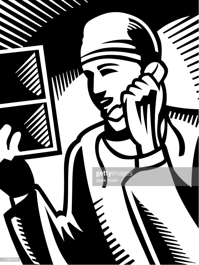 A black and white drawing of a doctor on the phone : Stock Illustration
