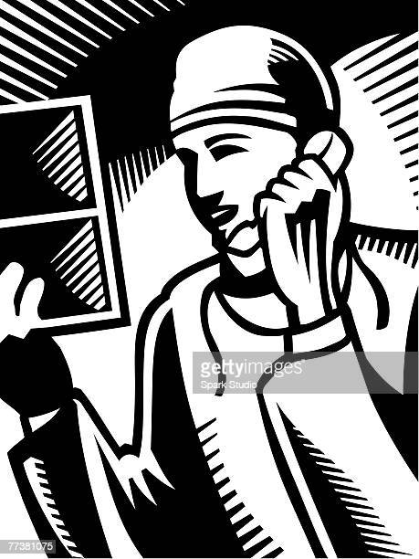 a black and white drawing of a doctor on the phone - operating gown stock illustrations, clip art, cartoons, & icons