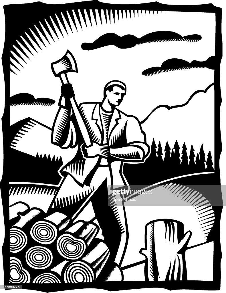 A black and white drawing of a man chopping wood with an axe : Illustration