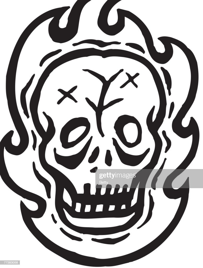 A Black And White Drawing Of Skull Fire Vector Art