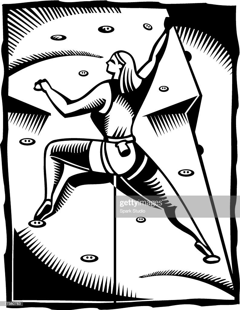 A black and white drawing of a woman participating in an indoor wall climbing : Illustration