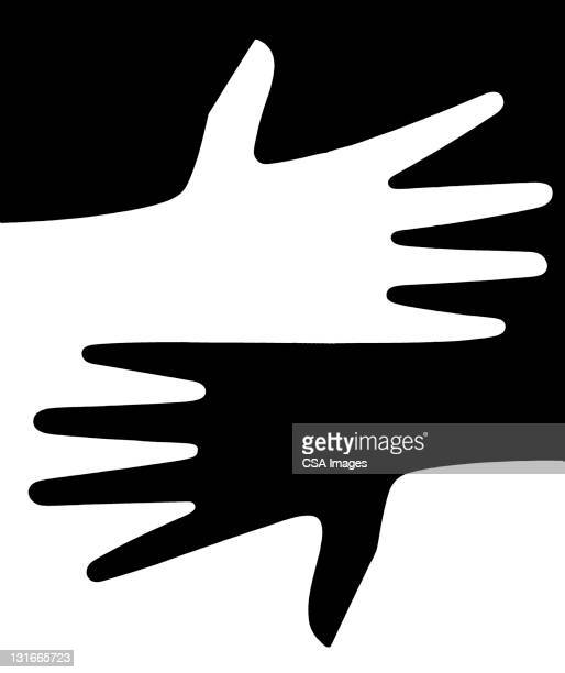black and white hands - contrasts stock illustrations