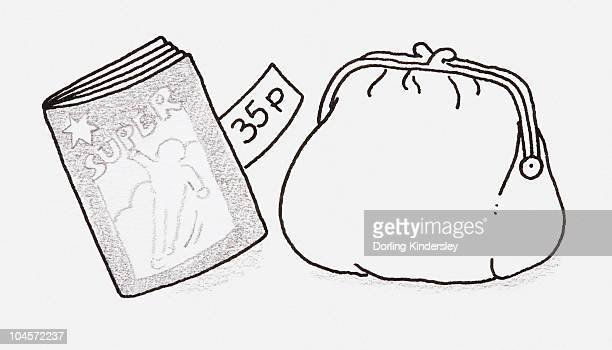 black and white illustration of a comic book with a price tag sticking out, next to a purse - next stock illustrations