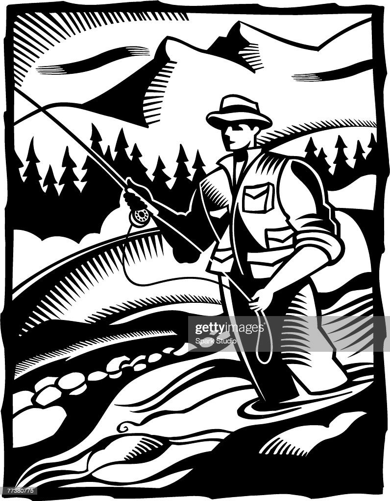 A black and white illustration of a man fly fishing in a river : Stock-Illustration