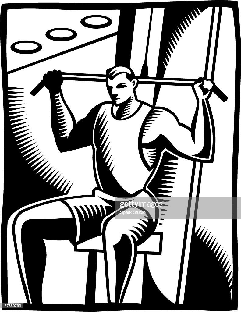 A black and white illustration of a man using the lateral pull : Illustration