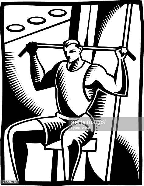 a black and white illustration of a man using the lateral pull - {{relatedsearchurl('racing')}} stock illustrations, clip art, cartoons, & icons