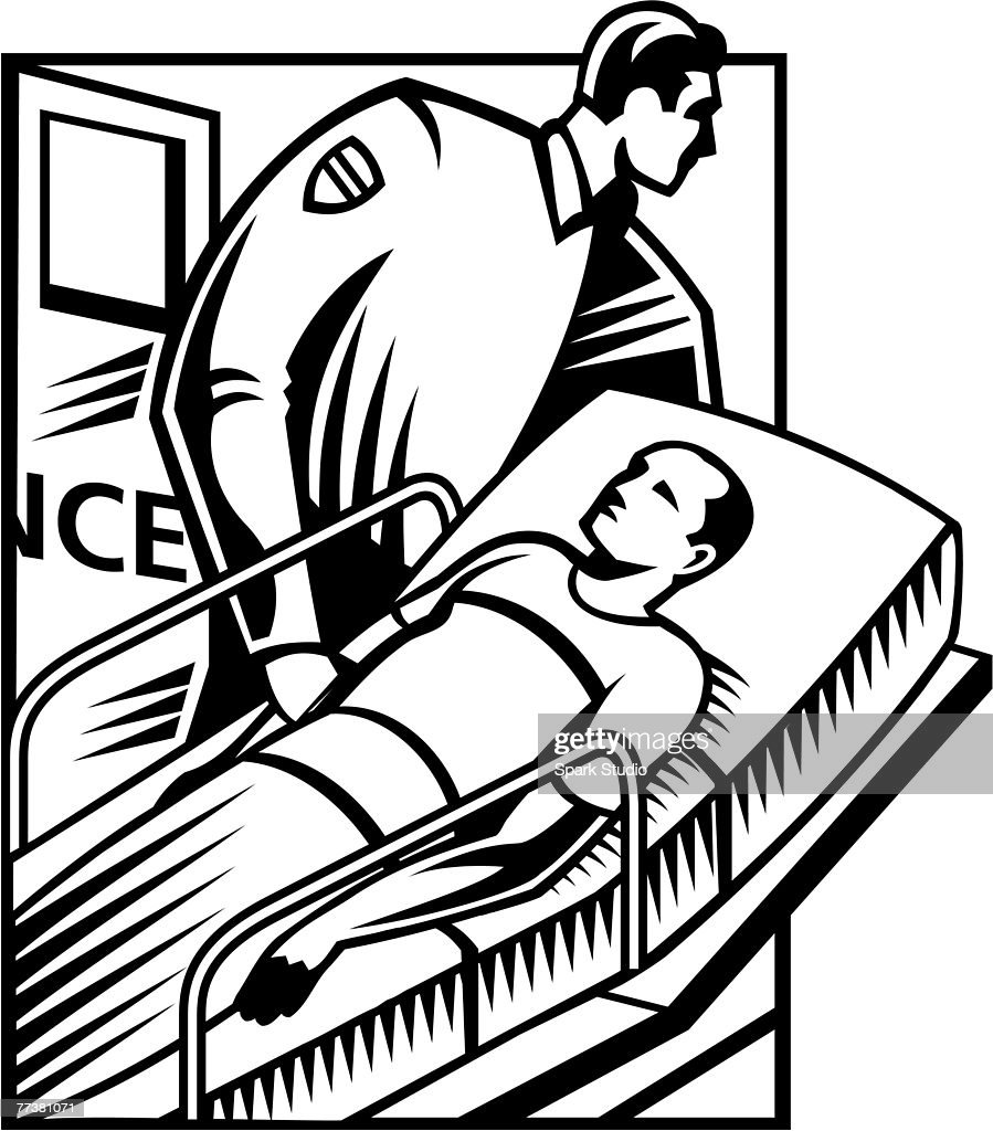 A black and white illustration of a patient being wheeled into the ER : Illustration