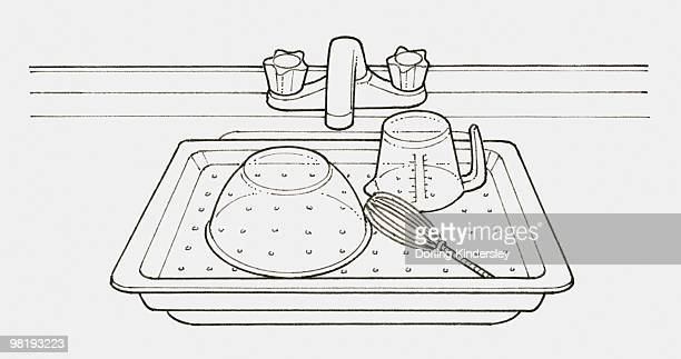 black and white illustration of a tray with holes in it, placed over sink and used as a drainer - washing dishes stock illustrations, clip art, cartoons, & icons