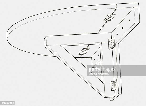ilustrações, clipart, desenhos animados e ícones de black and white illustration of a wall-mounted folding table - suporte angular