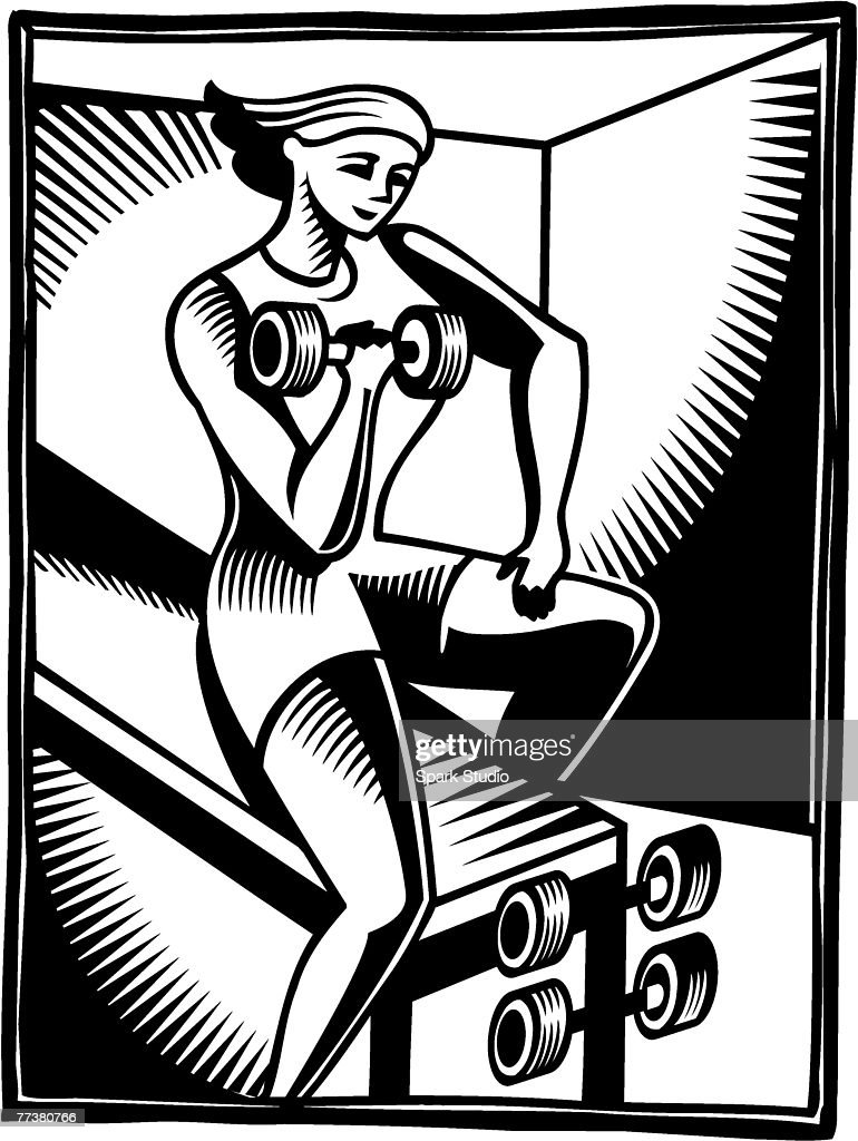 A black and white illustration of a woman doing bicep curls : Illustration