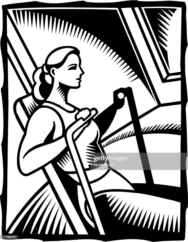 A black and white illustration of a woman exercising on a rowing machine : Illustration