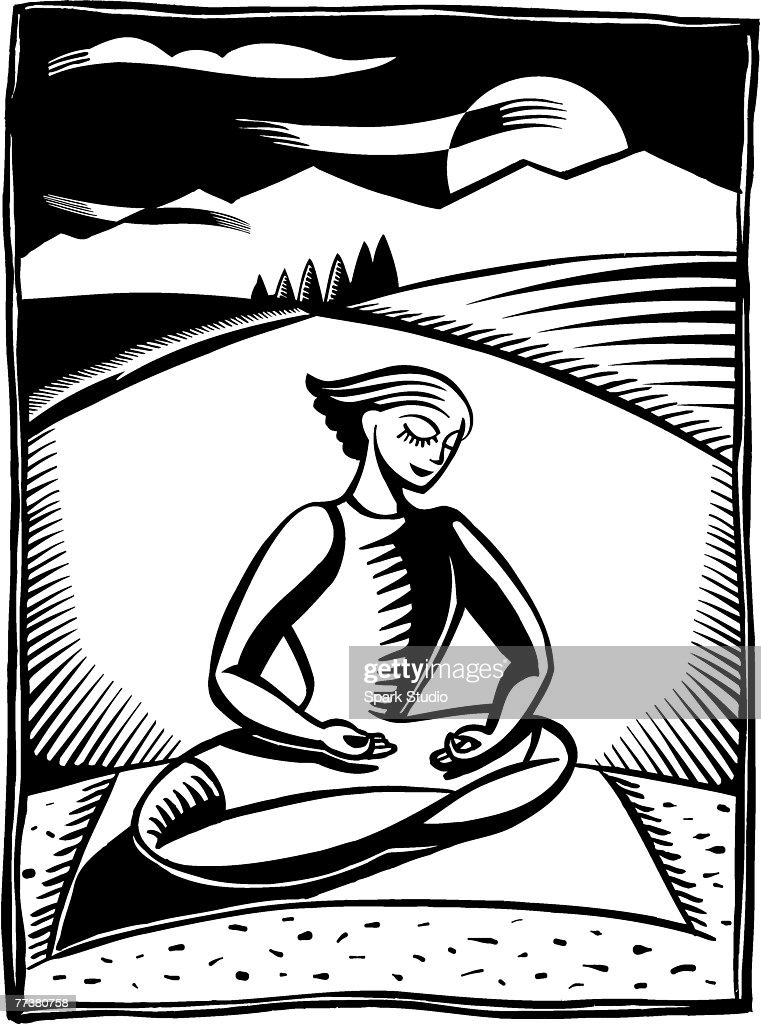 A black and white illustration of a woman meditating in lotus position : Illustration