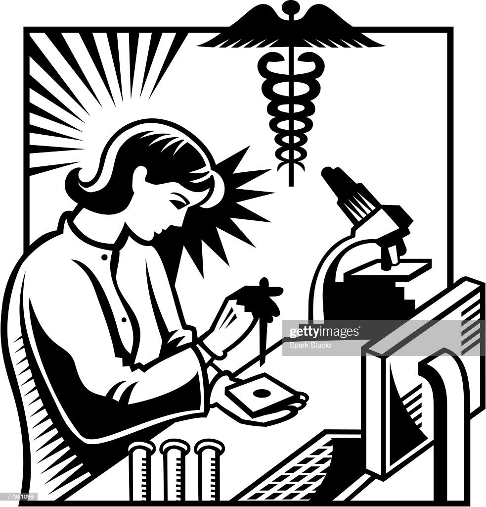 A black and white illustration of a woman testing a specimen in the research lab : Illustration