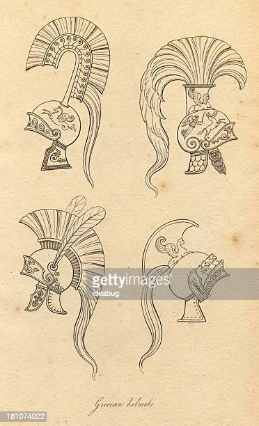 black and white illustration of ancient grecian helmets - classical style stock illustrations, clip art, cartoons, & icons