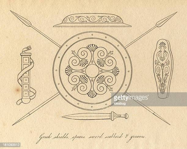 Black and White Illustration of Ancient Greek Weapons