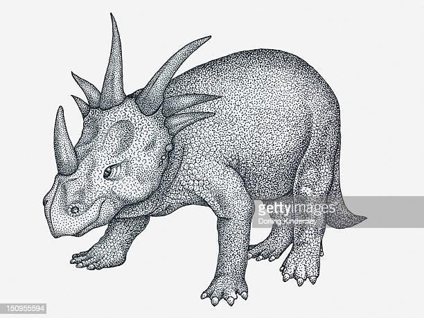 Black and white illustration of ceratopsian Styracosaurus dinosaur