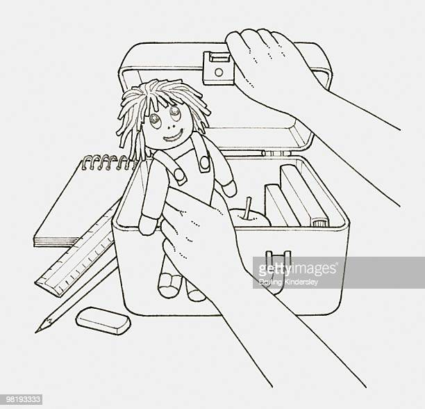 Black and white illustration of child's hand holding doll next to open case filled with books and an apple, stationery nearby