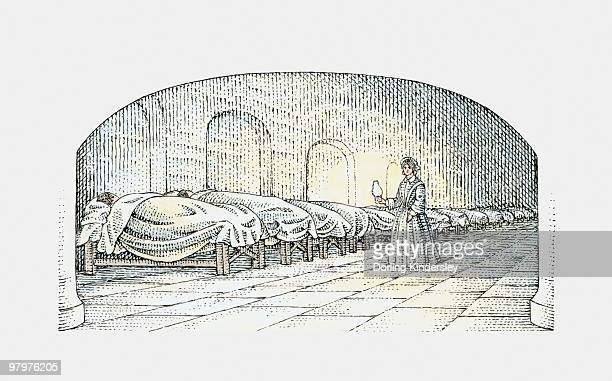 black and white illustration of florence nightingale walking with lamp near beds of injured soldiers - florence nightingale stock illustrations