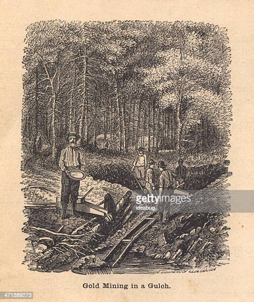 black and white illustration of gold mining in gulch, 1800's - gold rush stock illustrations