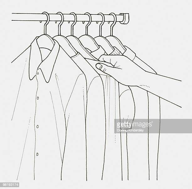 black and white illustration of hand picking garment from clothes rail - top garment stock-grafiken, -clipart, -cartoons und -symbole