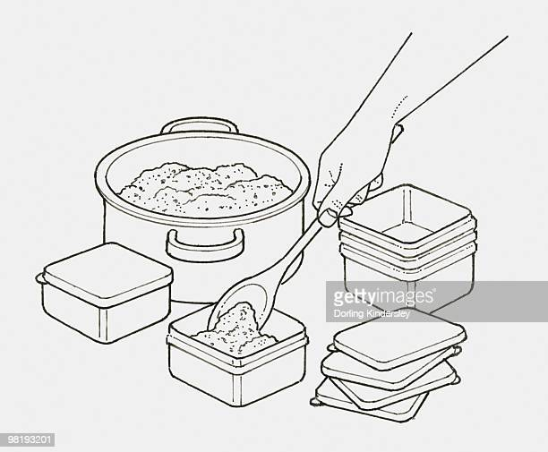 black and white illustration of hand using wooden spoon to move portions of minced meat from pan into smaller containers for freezing - ground beef stock illustrations